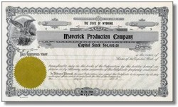 Maverick Production Company Stock Certificate (Unrelated to Sarah Palin)