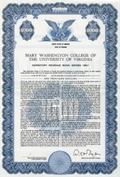Mary Washington College Bond - Fredericksburg, Virginia 1961