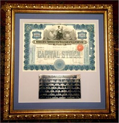 Marconi Wireless Telegraph Company plus wireless codegraph brass plate dated August 13, 1912 Framed - 1914