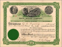 Mays Mining Company 1905 - Incorporated in the Territory of Arizona