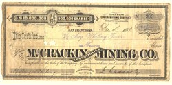 McCracken Consolidated Mining Company - Owen Mining District. Mohave Co, Arizona 1877
