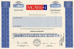 McAfee.com (IPO Certificate) - Delaware