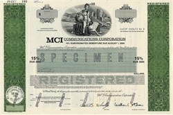 MCI Communications Corporation ( RARE Specimen Bond) Pre Worldcom Merger - Delaware