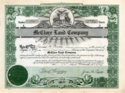 McClure Land Company signed by James G. Pierce as President - Michigan 1924