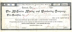 McIntire Mining and Lumbering Company - Placer County, California 1886