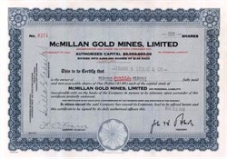 McMillan Gold Mines, Limited 1936 - Sudbury Mining Division, Ontario Canada