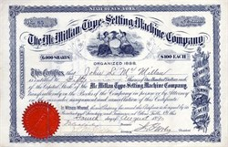 McMillan Type - Setting Machine Company - Glens Falls, New York 1890