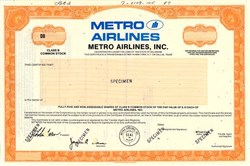 Metro Airlines, Inc. (American Eagle Airlines)  - Delaware 1987