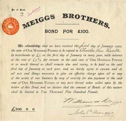 Meiggs Brothers issued to Charles Van Raalte - England 1902