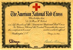 Membership Certificate of The American National Red Cross - Woodrow Wilson as President - 1917