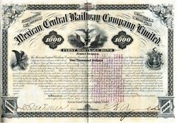Mexican Central Railway Company Limited $1000 Gold Bond - 1880