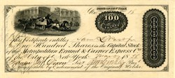 Metropolitan Errand & Carrier Express Co. - 100 Shares Stock Certificate - New York 1856