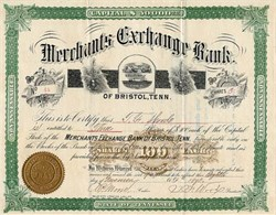 Merchants Exchange Bank - Bristol, Tenn. 1890