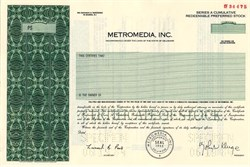 Metromedia, Inc. (Became Fox Television Network) John Kluge as President - Delaware 1984