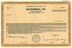 Metromedia, Inc. (Became Fox Television Network) John Kluge as President - Delaware 1984
