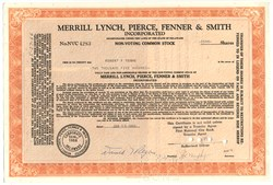 Merrill Lynch, Pierce, Fenner & Smith Stock Certificate handsigned by Donald Regan as Executive Vice President - 1966