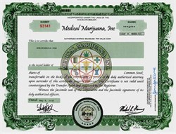 Medical Marijuana Inc. Stock Certificate printed on hemp paper