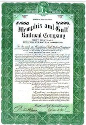 Memphis and Gulf Railroad Company 1907 Gold Bond