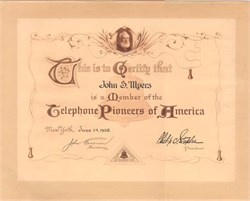 Membership Certificate to the Telephone Pioneers of America 1938