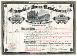 Metropolitan Mining and Manufacturing Company of the District of Columbia - United States 1882
