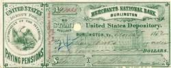Merchant's National Bank ( Civil War Widow Pension Payments) Burlington - Vermont 1872