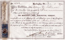 Merchants National Bank of Burlington, Vermont signed by Hickok - 1872