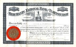 Merchants National Bank of Plattsburgh - New York 1926