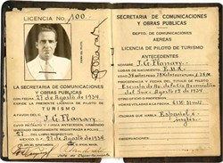 Early Mexican Pilots License No. 100 dated 1934