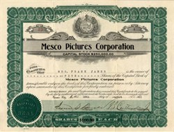 Mesco Pictures Corporation (Movie about Jesse James) issued to Mrs. Frank James - Missouri 1920