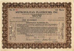 Metropolitan Playhouses, Inc. issued to and signed by Spyros P Skouras - New York 1944