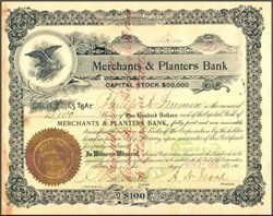 Merchants and Planters Bank 1909 - South Carolina