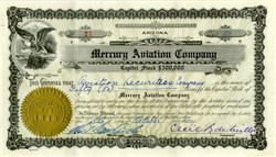 Mercury Aviation Company ( First Commercial Scheduled Airlines ) signed by Famous Hollywood Director Cecil B. DeMille 1920
