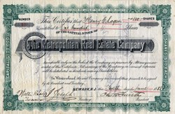 Metropolitan Real Estate Company  - New Jersey 1888