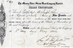 Mersey River Steam Boat Company Limited - England 1864