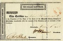 Mercantile Library Company 1858 - Philadelphia