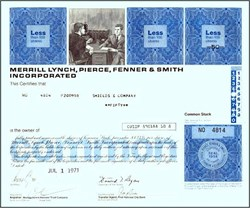 Merrill Lynch, Pierce, Fenner & Smith Stock Certificate - Old Quotron Vignette -Donald Regan as Chairman