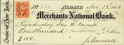Merchants National Bank 1866 signed by famous publisher Joel Munsell