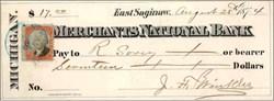 Merchants National Bank Check 1874 - East Saginaw