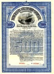Merchants Steamship Company, Limited $500 Gold Bond - Ontario, Canada 1908