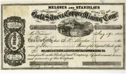 Melones & Stanislaus Gold, Silver, & Copper Mining Co. (Rare)- San Francisco, California 1864