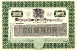 Metropolitan Credit Corporation 1919 - 1922