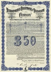 Metropolitan Telephone and Telegraph Company - 1912 Gold Bond