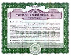 Metropolitan Sound Studios, Inc.