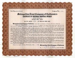 Metropolitan Trust Company of California 1931