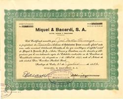 Miquel & Bacardi, S.A. signed by E.  Bacardi  - Cuba 1956