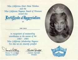 Miss California Pageant Certificate of Appreciation - California 1983