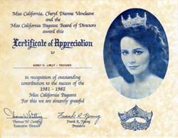 Miss California Pageant Certificate of Appreciation - California 1981
