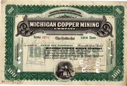 Michigan Copper Mining Company (Scarce - Lee Degood's Michigan Mining book indicates only 11 to 25 known for unissued certificate but this one is issued)- Michigan 1907
