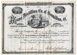 Miami Distilling Company of Hamilton, Ohio - 1875