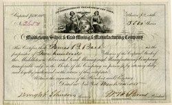 Middletown Silver & Lead Mining & Manufacturing Company -  Middletown,  Middlesex Co.,  Connecticut 1855